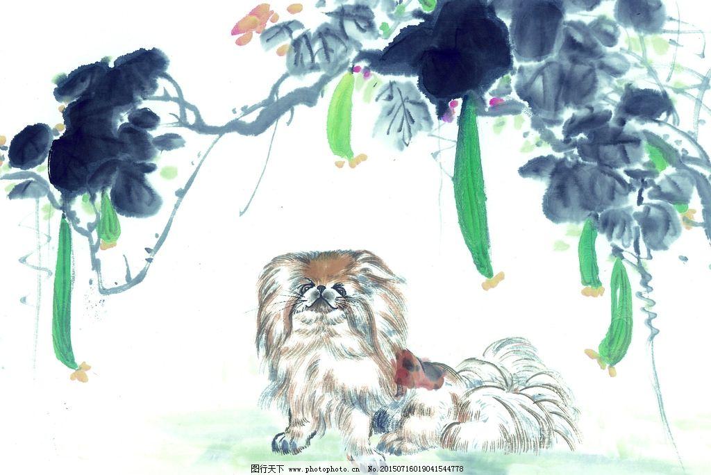 黑白 十二生肖 国画 手绘 狗 犬 油画 装饰画 铅笔 动物 写生 色彩