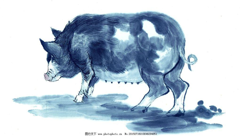 黑白 十二生肖 国画 手绘 猪 油画 装饰画 铅笔 动物 写生 色彩 复古