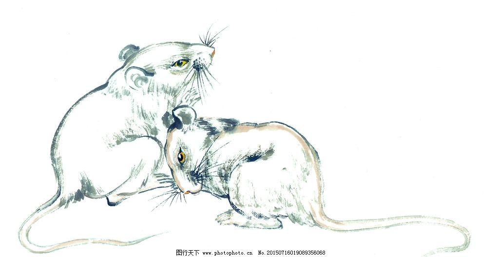 手绘十二生肖 老鼠图片,油画 装饰画 铅笔 动物 写生