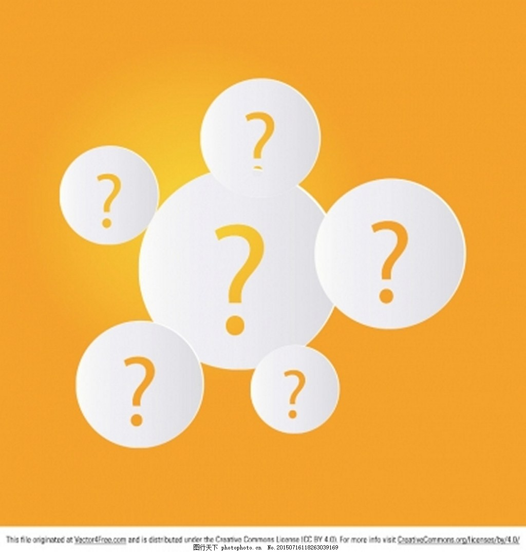 大问号 黄色背景 白色圆 ai 橙色