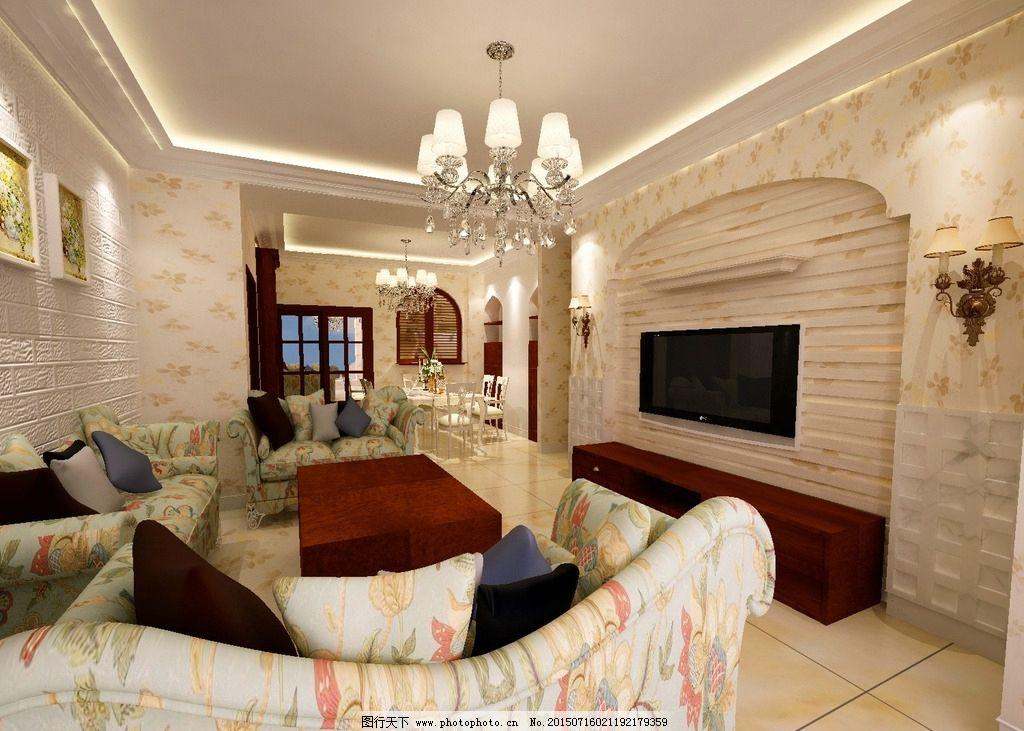 美式 田园风格 客厅餐厅 3dmax 家装公司 3d 渲染图 设计 3d设计 室内图片