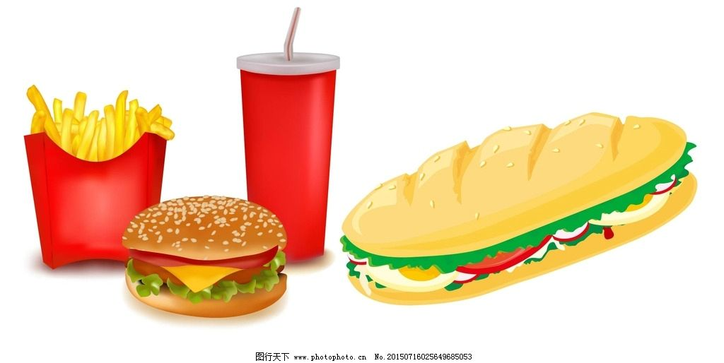 矢量 薯条 热狗 饮料 汉堡图片
