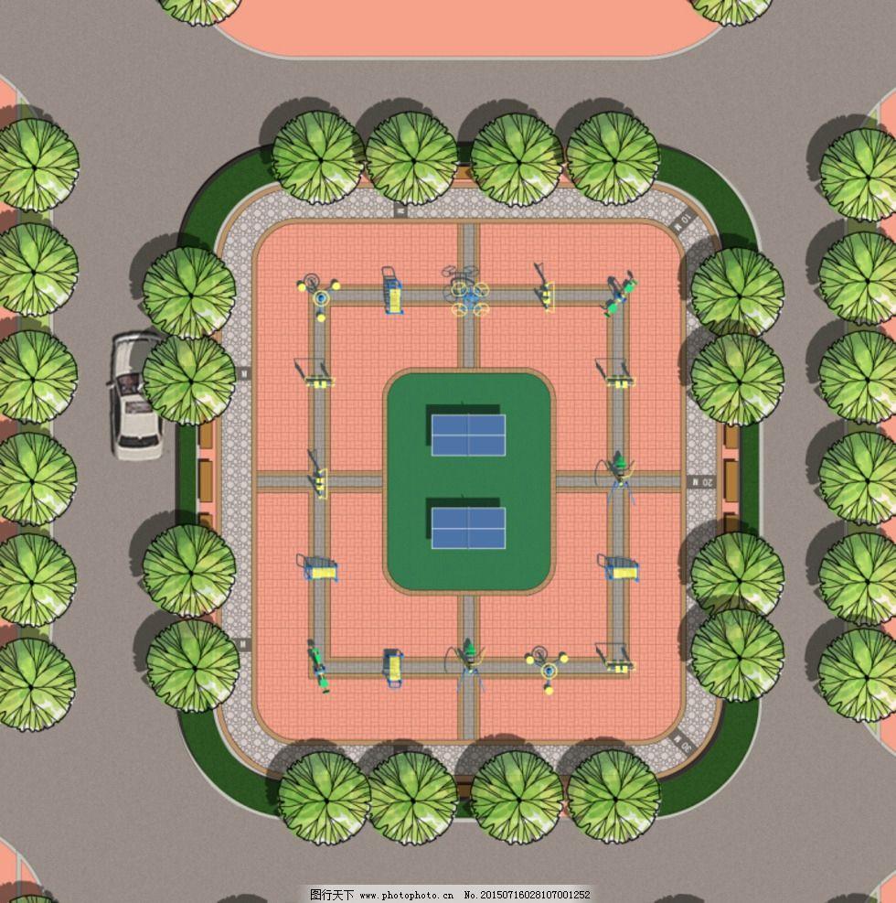 健身场地设计 彩平面图片