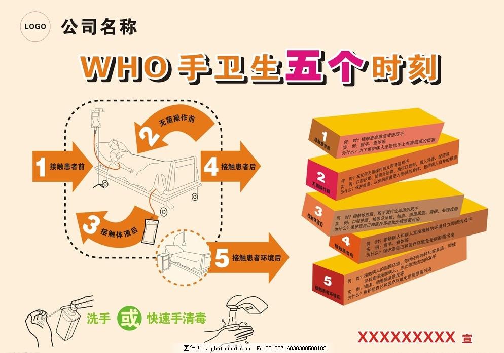 手卫生五时刻 洗手 医院洗手步骤 病床 设计 广告设计 dm宣传单 cdr