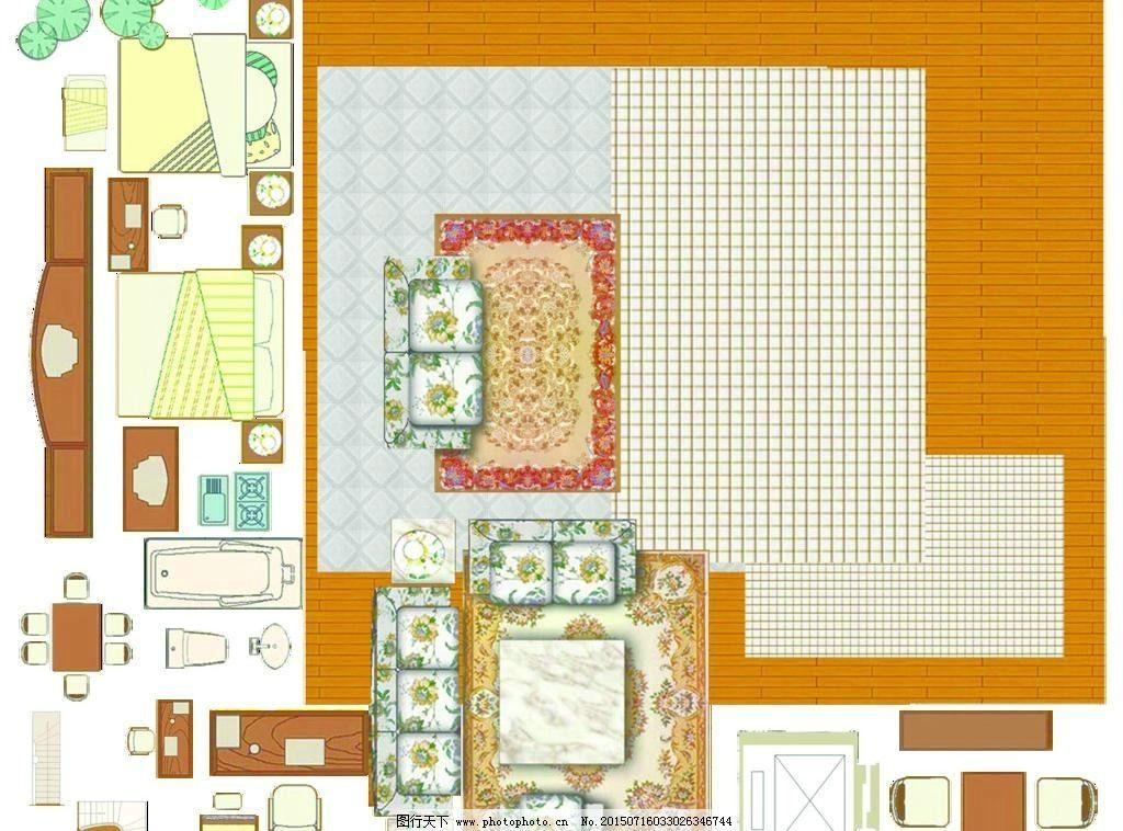 室内平面家具彩图psd分层下载图片
