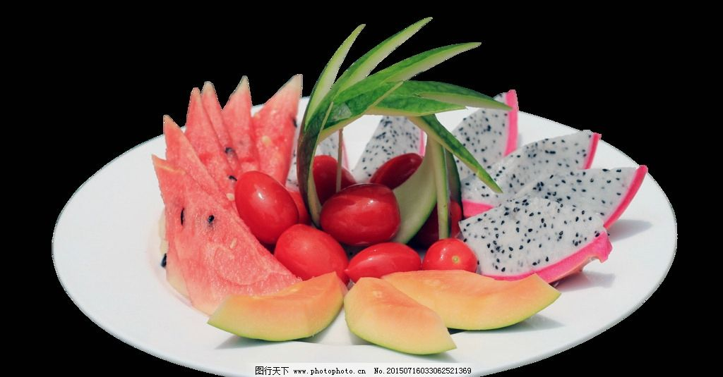 水果拼盘 水果 拼盘 西瓜 西红柿 火龙果 美食图 设计 psd分层素材图片