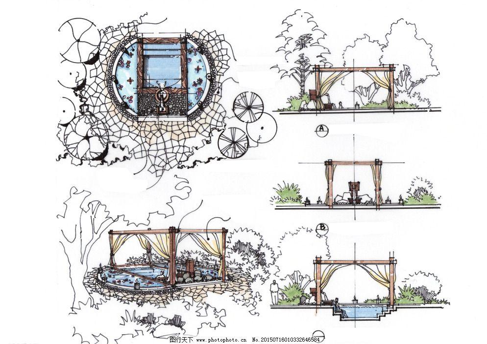 环境设计 景观设计 设计 手绘 亭子 手绘 总平面 景观设计 环境艺术