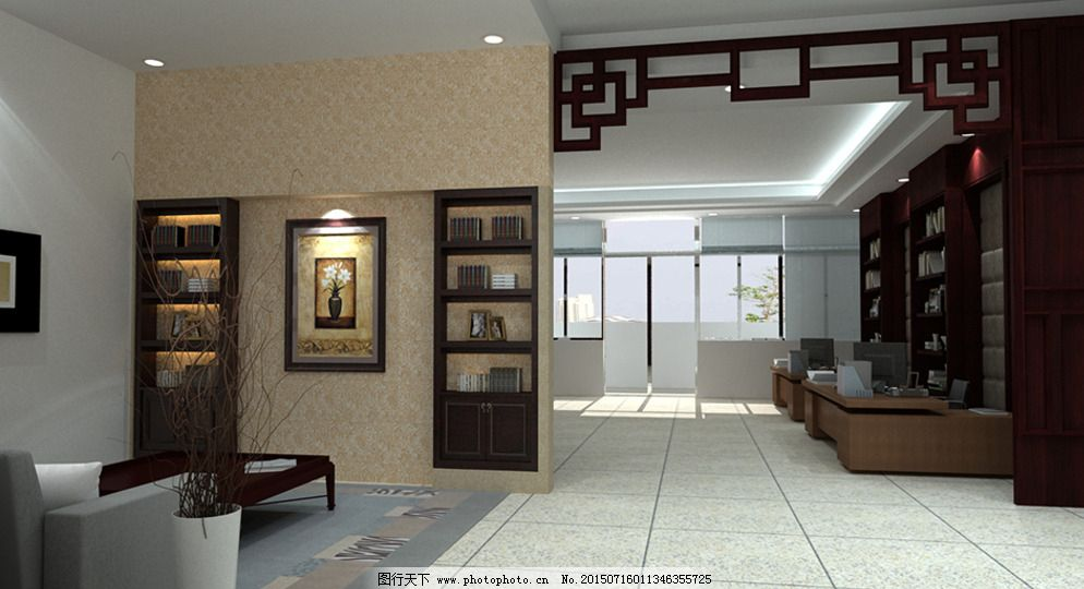 园长室 中式风格 装修效果图