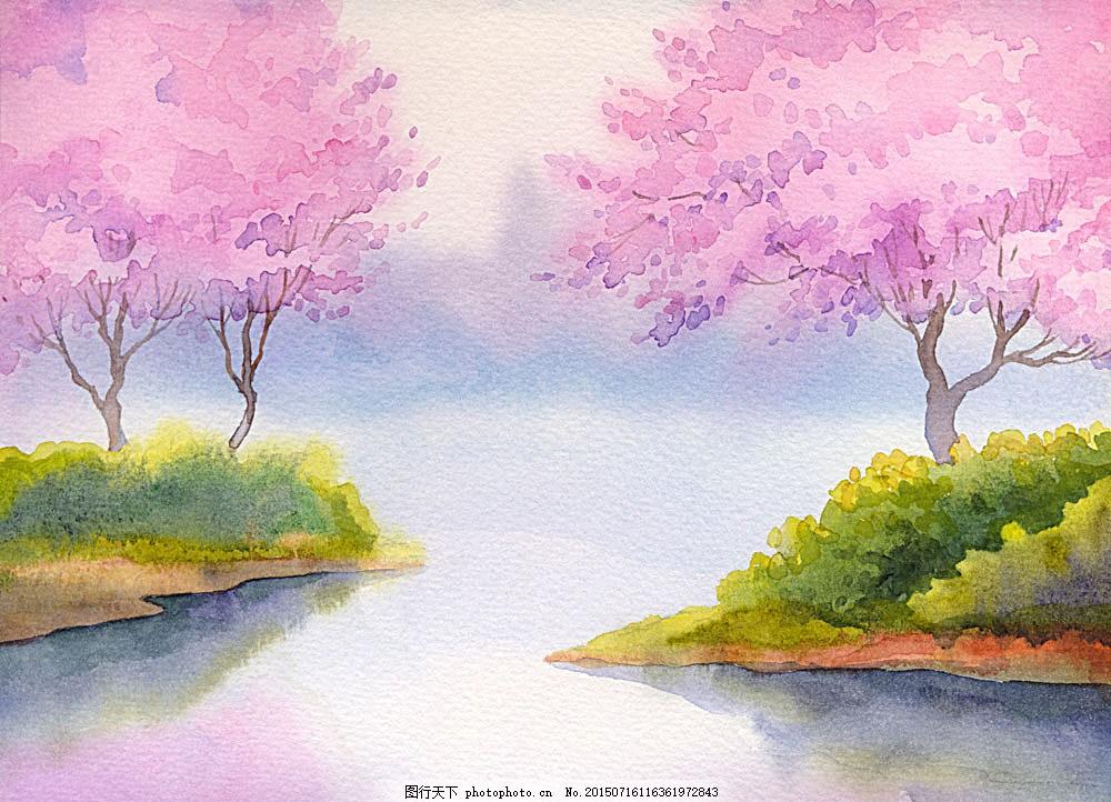 春天风景水彩画