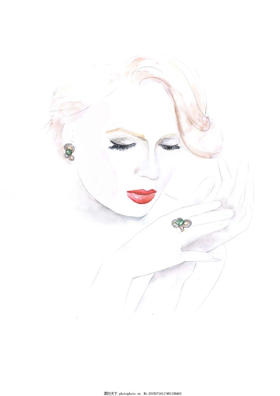 手绘美女首饰设计素材 耳坠 戒指 白色