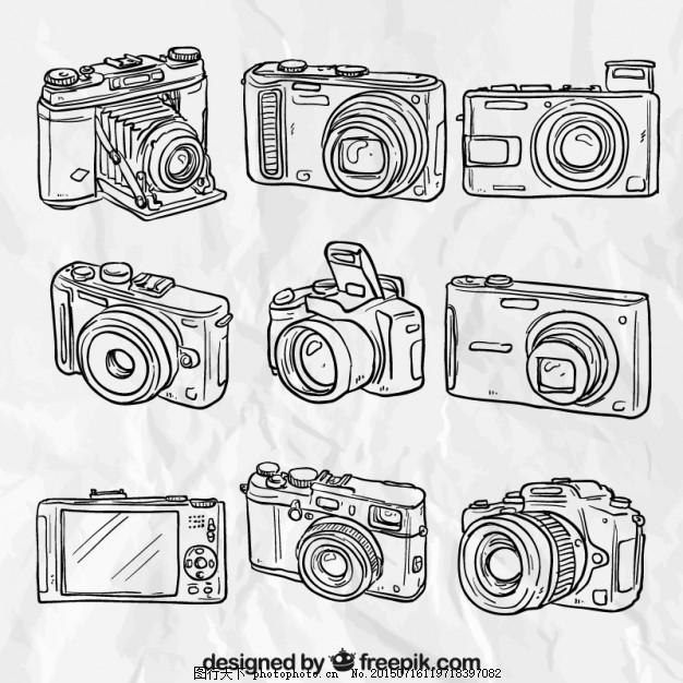 摄影 绘画 手绘图 照片的相机 小工具 绘制粗略 摄像机 模拟 ai 白色
