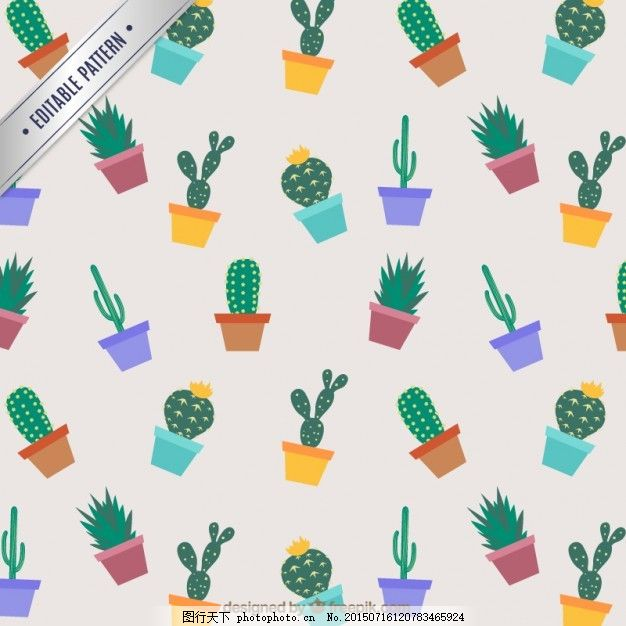 仙人掌模式 模式 一方面 手绘 花园 可爱 植物 绘画 盆栽 仙人掌 无缝