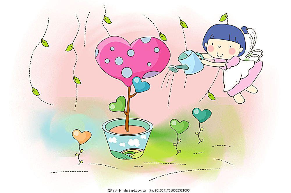浇花的女孩图片