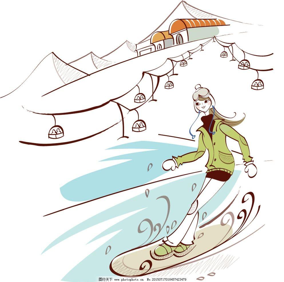 滑雪女孩图片