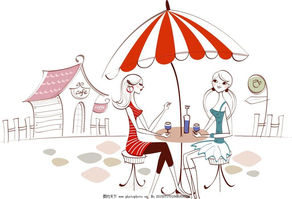 太阳伞下的女孩图片_风景漫画_动漫卡通_图行天下图库