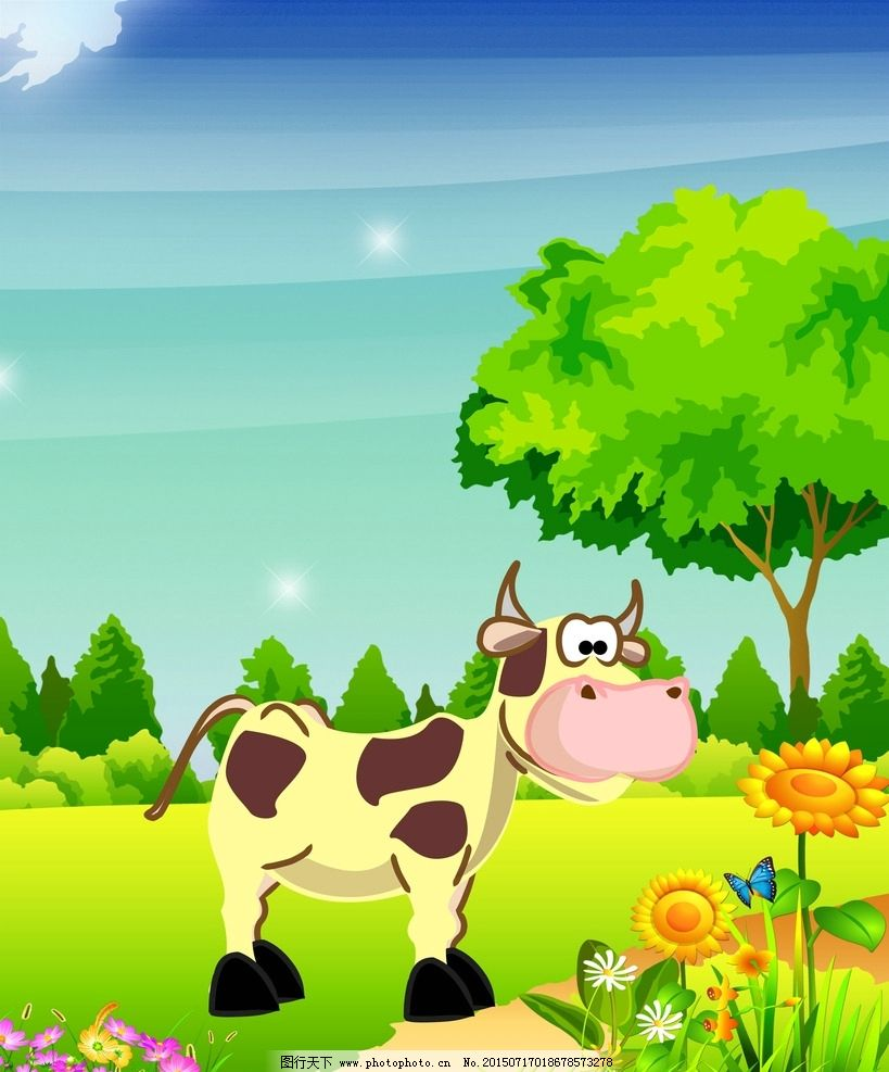 活动背景板 牛 舞台 主画面 卡通 动画 动漫 手绘 可爱 动物