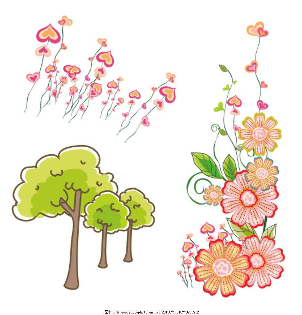 卡通矢量素材 花朵 矢量花朵 卡通花朵 梦幻花朵 手绘花朵 梦幻 心形