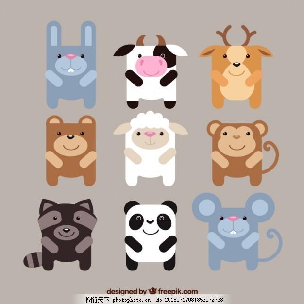 可爱的动物 自然 动物 农场 绵羊 森林 牛 猴 可爱 熊 鹿 老鼠 兔子