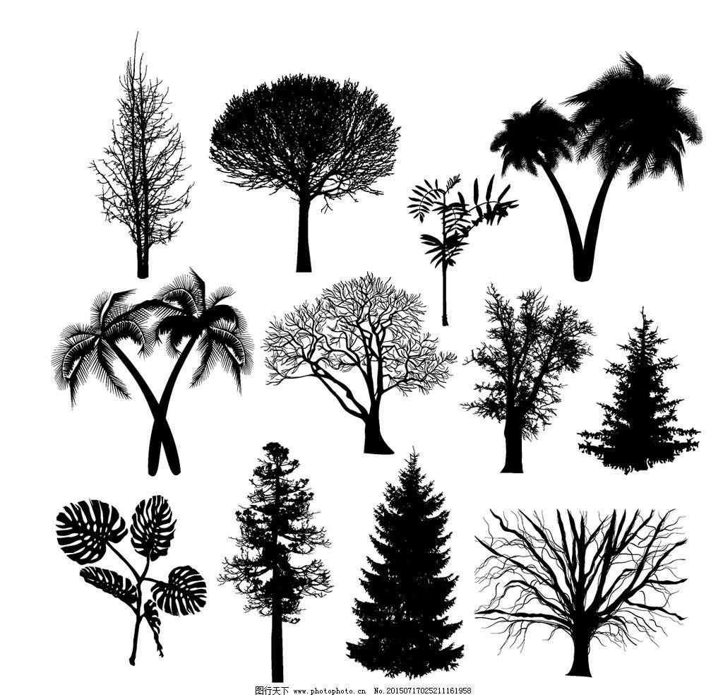 树叶 手绘树木