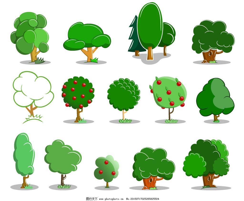 树木 绿叶 绿植 树叶 绿树 手绘树木 树木贴图 植物 生物世界 矢量 ep