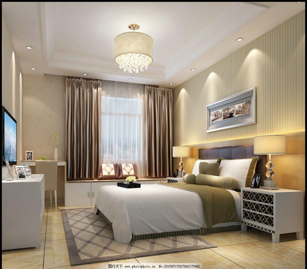 现代卧室3d效果图图片