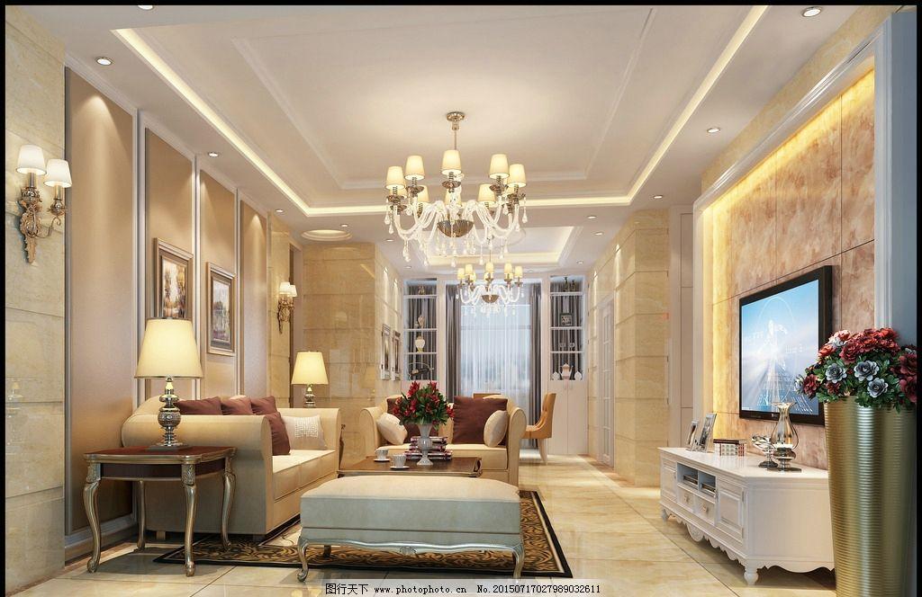简欧客厅3d室内效果图图片