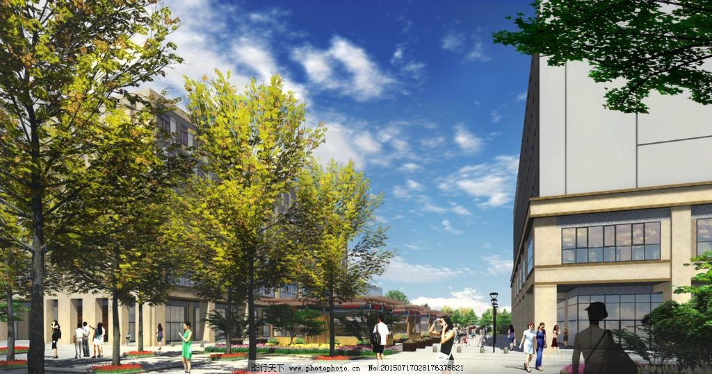 商业广场 现代商业 景观设计 psd 树阵广场 售卖亭设计 商业街 景观设