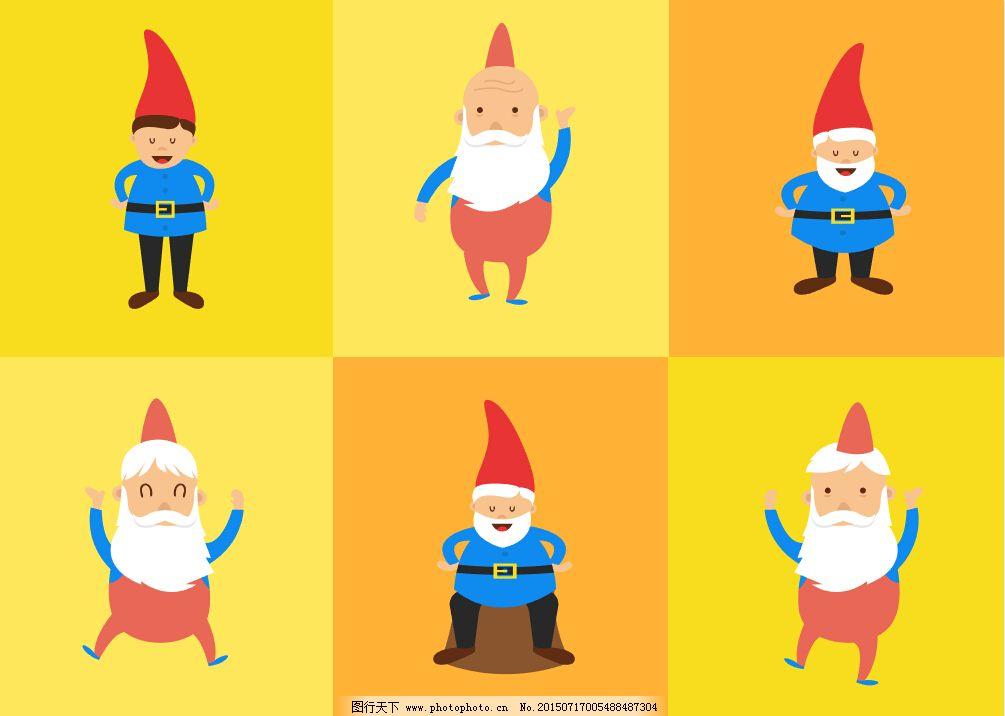 戴红帽子的老人小孩卡通形象矢量图