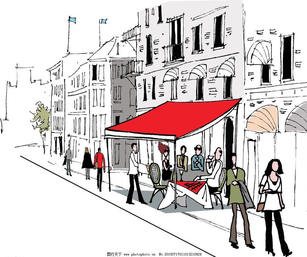 环境设计 建筑家居 建筑设计 手绘建筑 都市 城市 国外建筑 楼房 行人