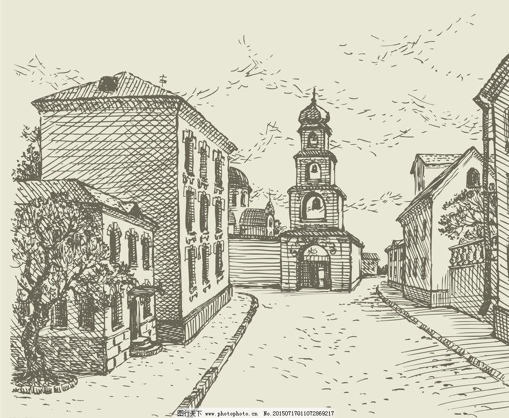 欧式建筑 欧洲建筑 手绘建筑 素描 手绘建筑 欧洲建筑 素描 线描 绘画