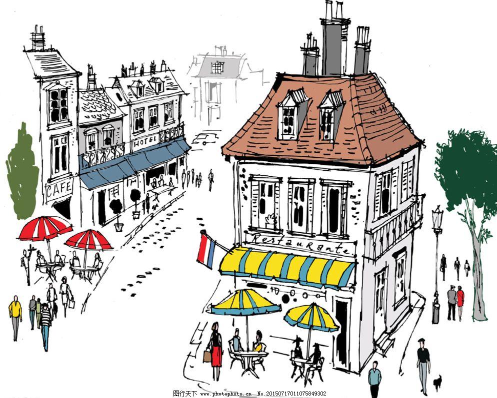速写 建筑写生 线描 建筑轮廓 卡通 手绘 风景 背景 矢量 城市建筑