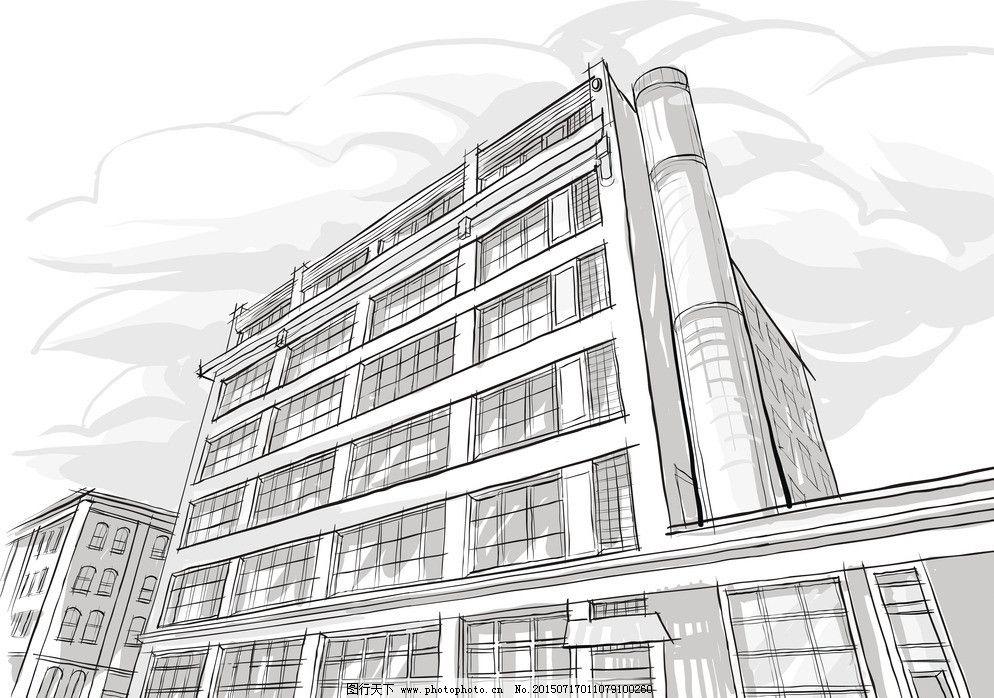 手绘建筑图片,城市建筑 大厦 都市剪影 高楼 建筑背景