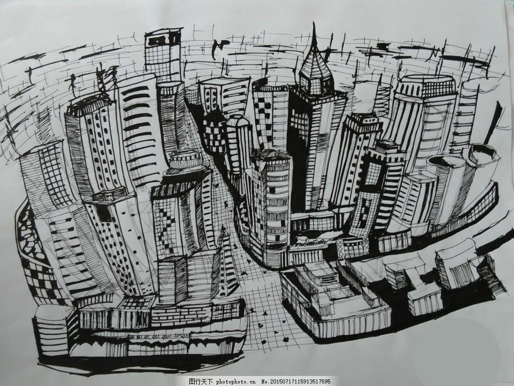钢笔手绘线稿城市鸟瞰 钢笔画 城市鸟瞰 手绘线稿 大都市     灰色
