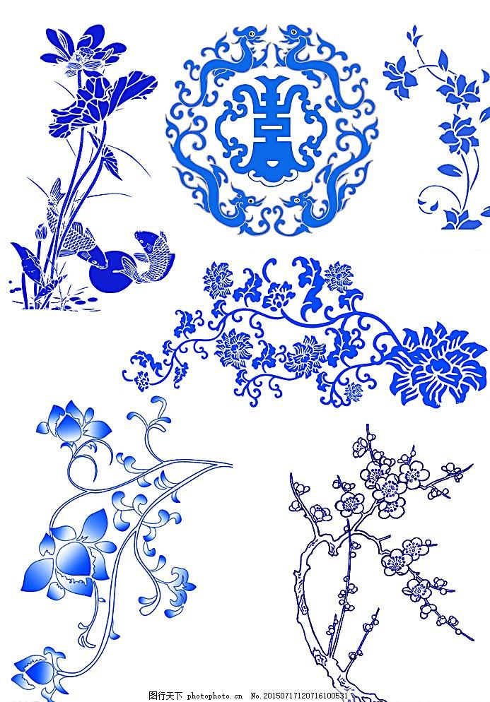 花朵 荷花 青花瓷 中国风 分层素材 素材 设计 底纹边框 其他素材 300