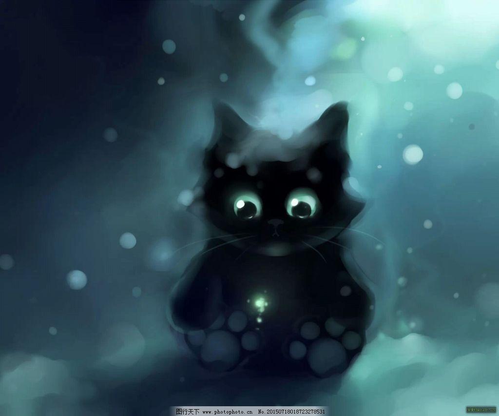 水彩插画之超萌小黑猫免费下载 插画 可爱 猫咪 手绘 猫咪 手绘 插画