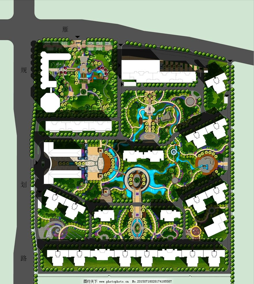 园林景观 彩色总图 小区设计 园林 欧式 规划总图 意象图 意向图 psd