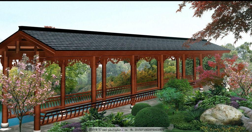 廊架园林景观手绘