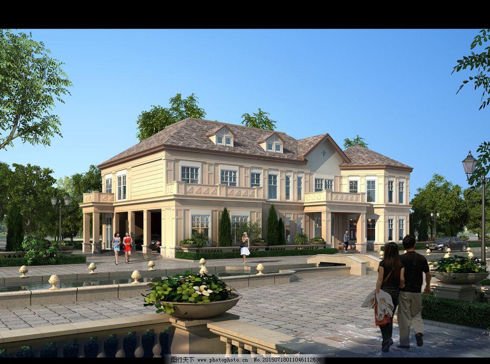 两层美式风格别墅效果图图片_建筑设计_装饰素材_图行图片
