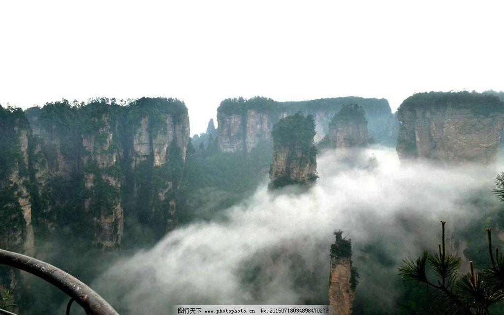 张家界 云雾 雨后 名胜 武陵源 奇石 风景 松树 绝景 山景 摄影 自然