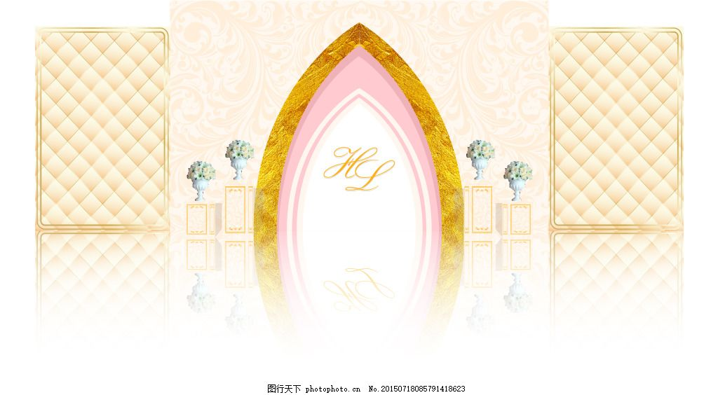 婚礼迎宾区效果图 香槟色 欧式 白色
