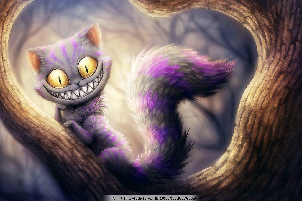 动物猫咪 爱丽丝梦游仙境 露牙齿微笑的猫