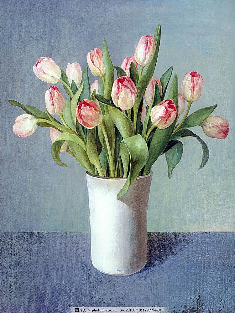 漂亮的郁金香油画图片 国画 油画 手绘 鲜花 植物 插画 水墨画 其他