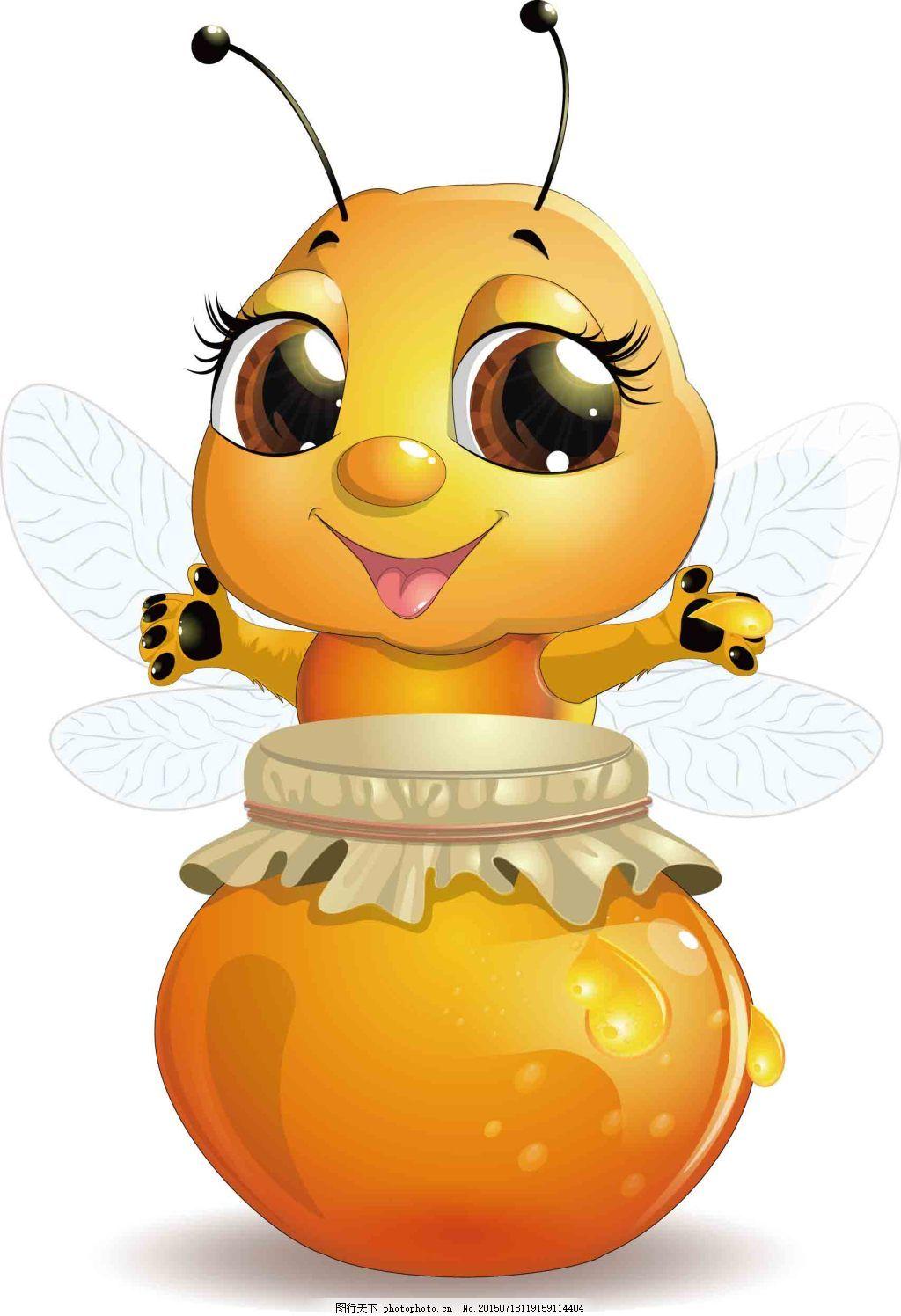 蜜蜂设计图 矢量图 彩色 白色