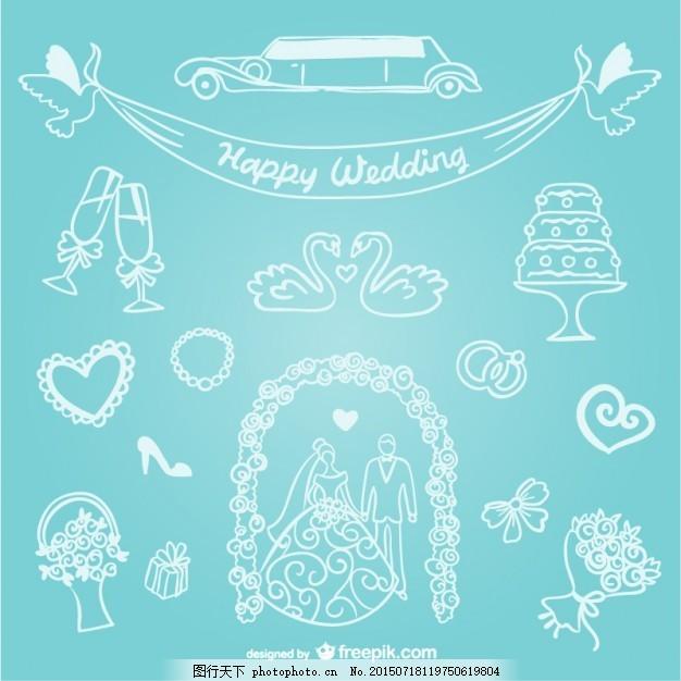 手绘线艺术婚纱图