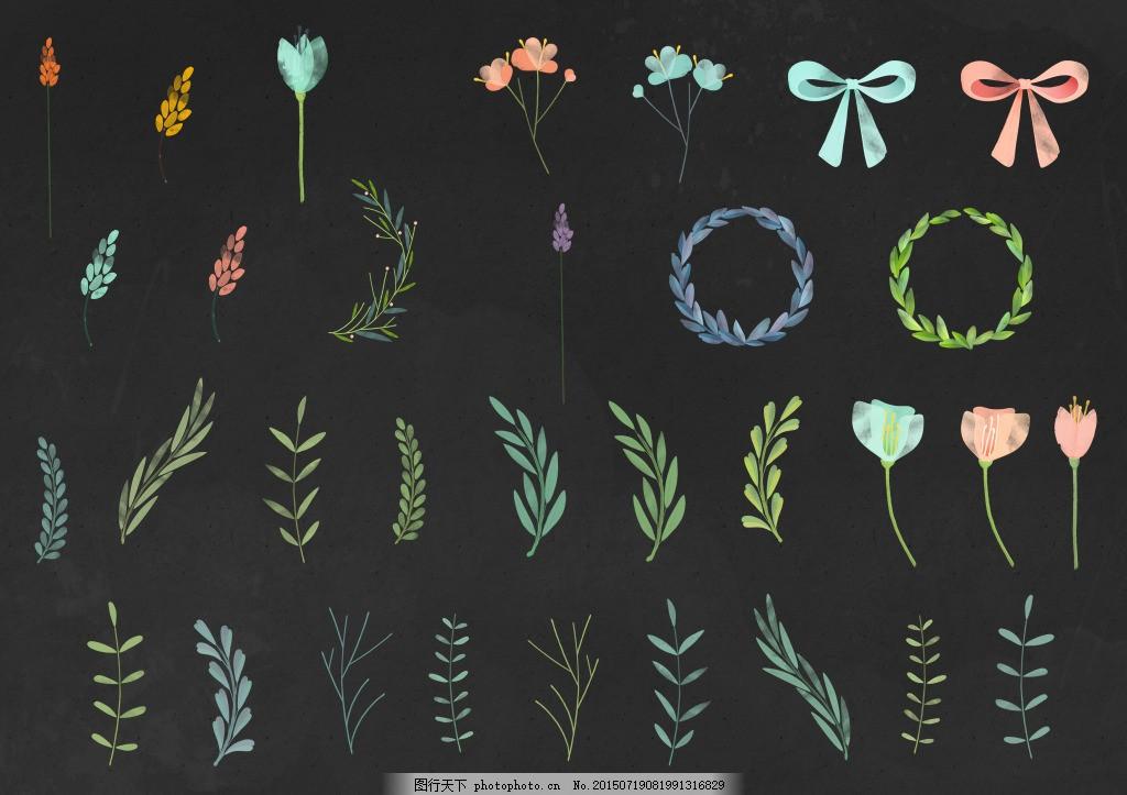 小清新手绘花环树叶 小清新 手绘 花环 树叶 花 树枝 藤蔓 蝴蝶结 草