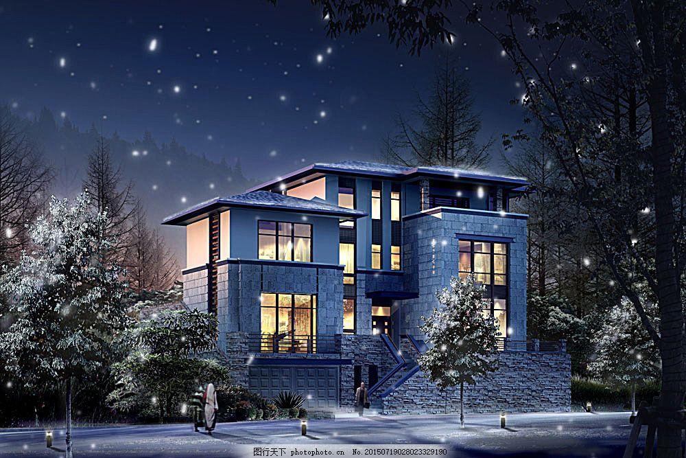 别墅夜景透视图