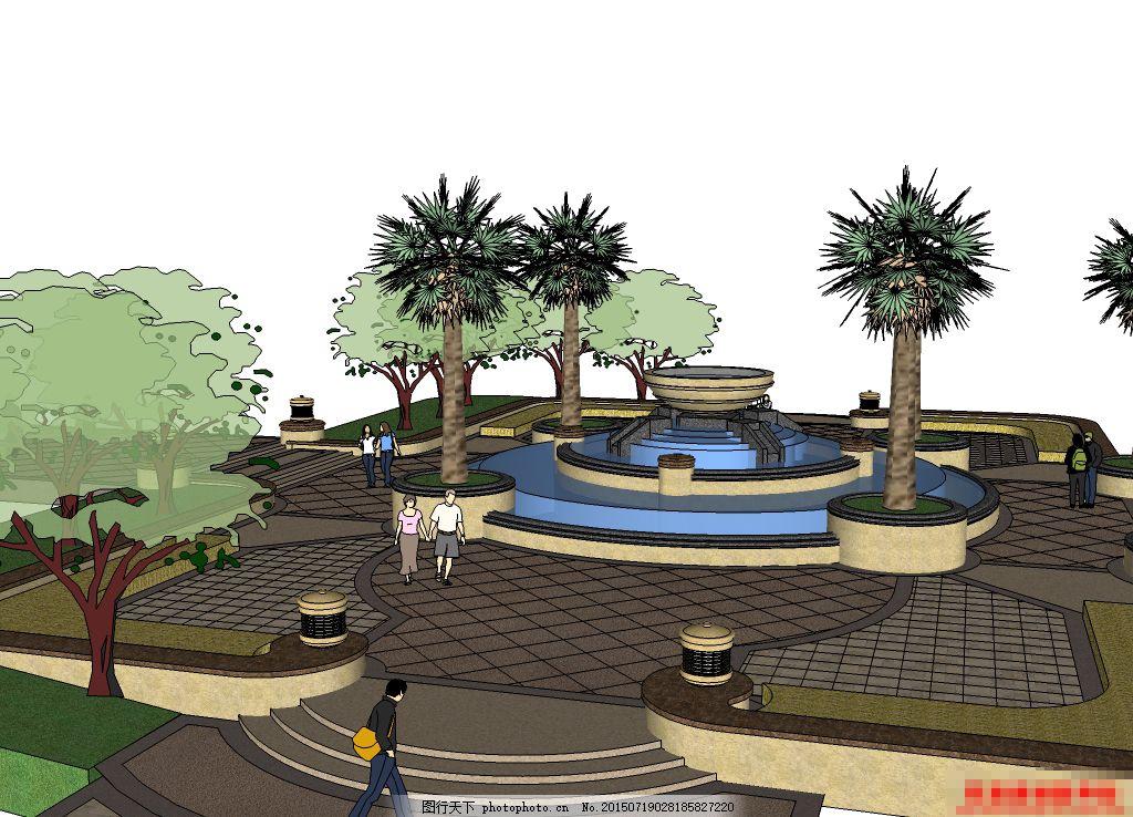欧式景观模型,广场 园林 喷泉 盆子 水 中心广场-图行