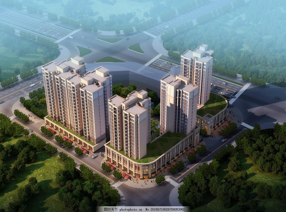 小区鸟瞰效果图 建筑效果图 商业效果图 住宅区 城市设计 城市规划