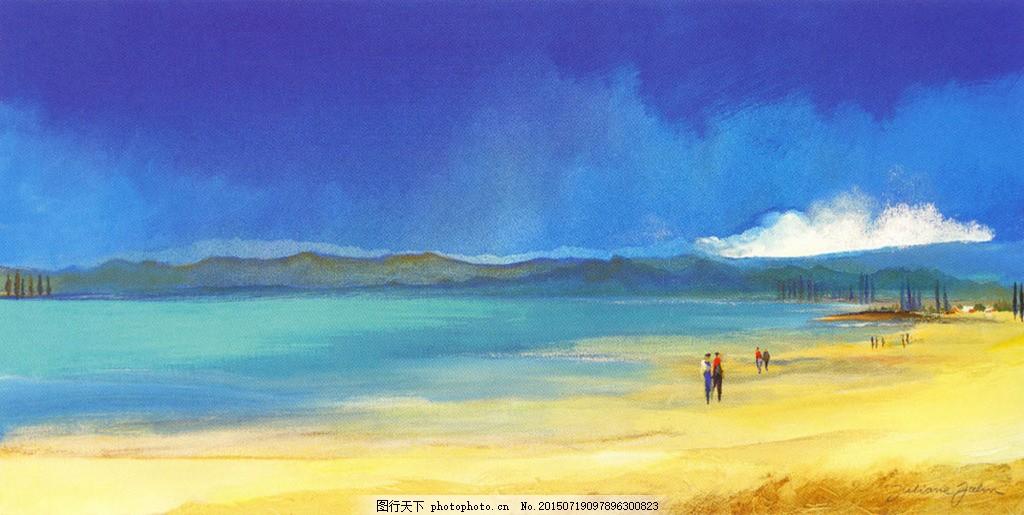 风景油画 蓝色沙滩 海边 油画背景 风景画 蓝天 金色沙滩 海报背景