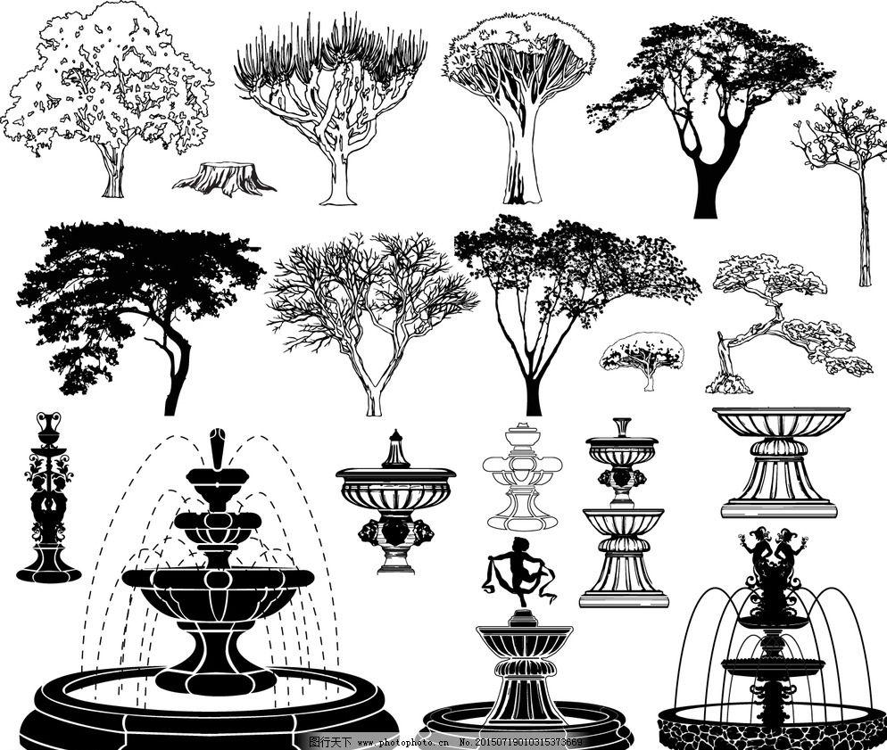 园林景观松树手绘